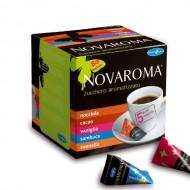 Novaroma,  ízesített cukor 5gr, 5 íz  mogyoró, fahéj, vanília, kakaó, ánizs (80db*5gr tetraéderes)